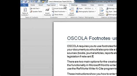 OSCOLA Word Footnotes - YouTube