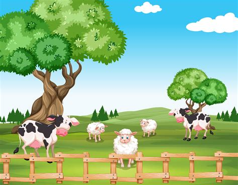 Sheeps and cows in the field - Download Free Vectors
