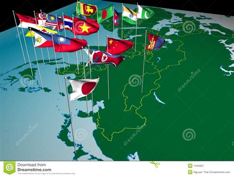 Asia Flags On Map (Northeast View) Stock Illustration
