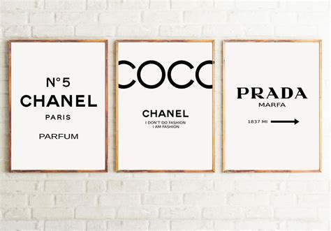 Set of 3 Inspired Coco Chanel Art Print Poster, Chanel
