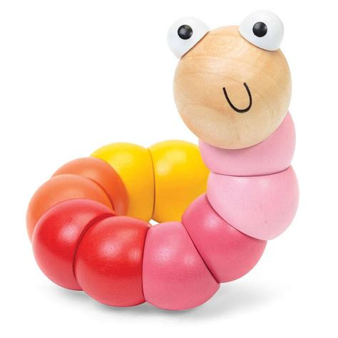 wooden bendy caterpillar toy by little baby company
