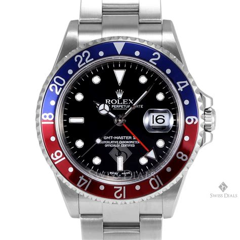 Rolex GMT-Master II Stainless Steel Black Dial Blue and