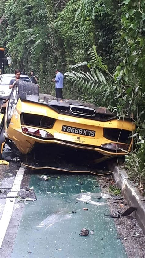 Lamborghini Aventador Wrecked After Roll Over Crash In
