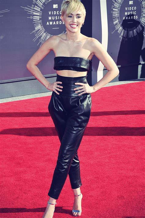 Miley Cyrus attends 2014 MTV Video Music Awards - Leather