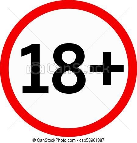 Eighteen plus age vector icon 18 age adult restricted logo