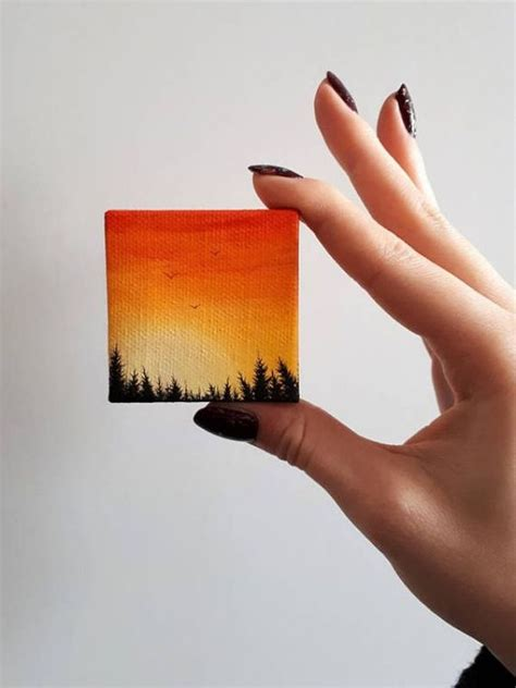 40 All-time Cutest Miniature Painting Ideas | Small canvas