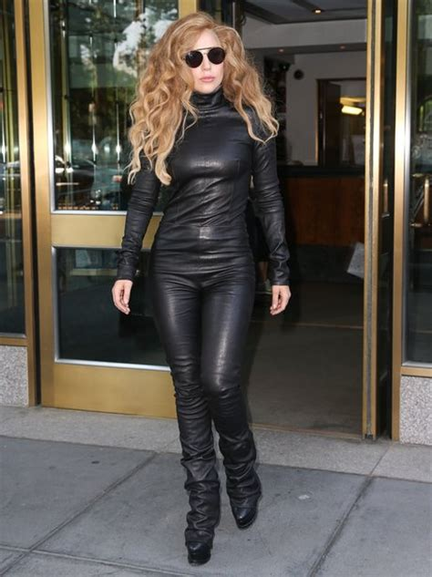 Lady Gaga Rocks A Leather Catsuit While Out In New York