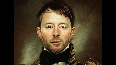 Thom Yorke cracked paint effect oil painting photoshop